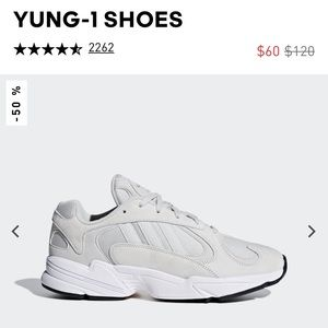 Adidas Yung-1 grey sneakers men 6.5/women 8.5